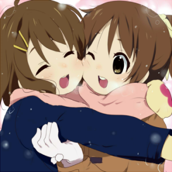 Yui and Ui embrace