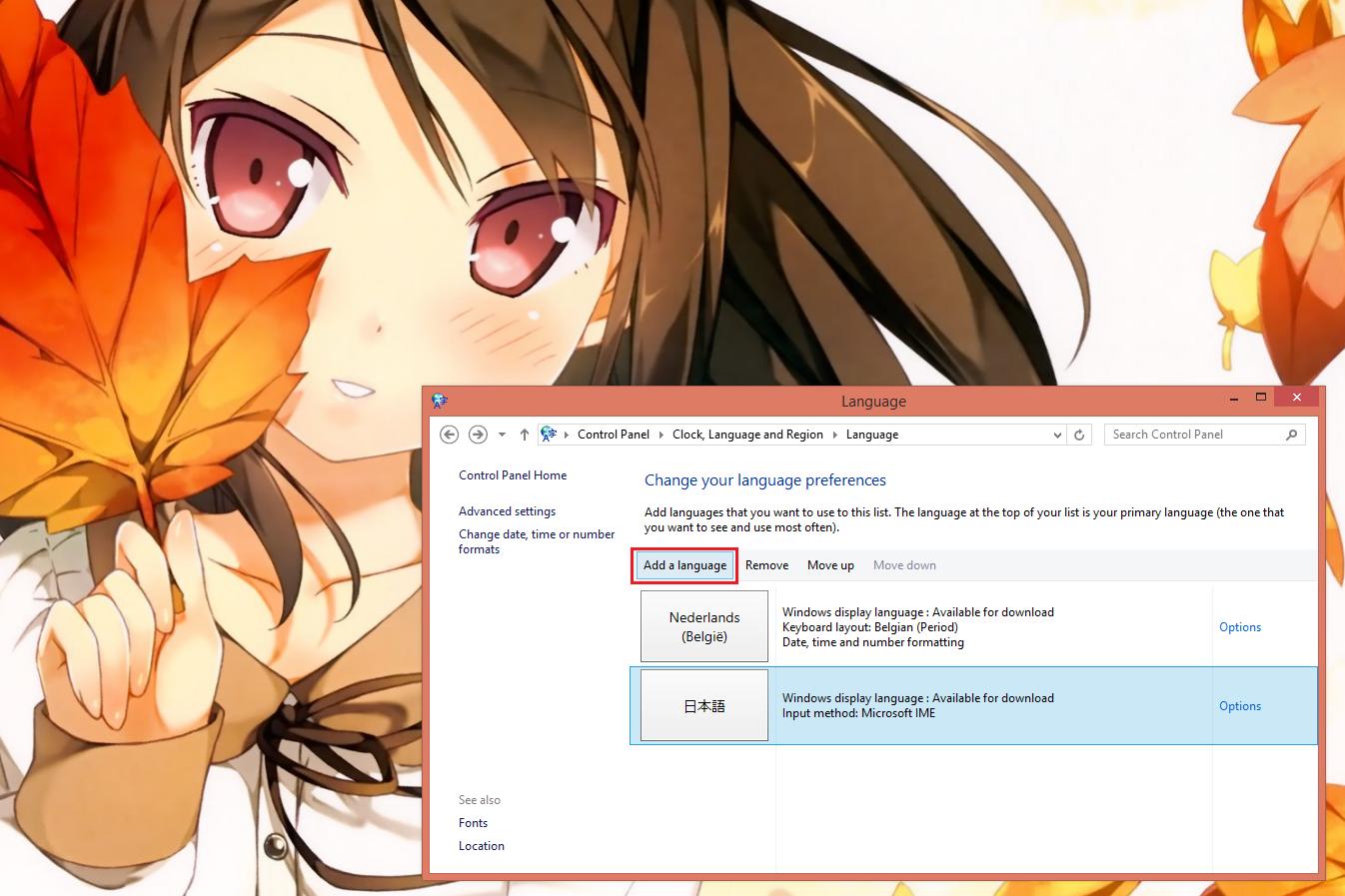 how to change input language in windows 8